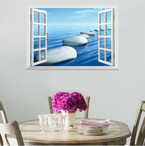 New Window Ocean Stone Removable 3D Wall Art Sticker - 48.5*72CM ICE BLUE Mobile