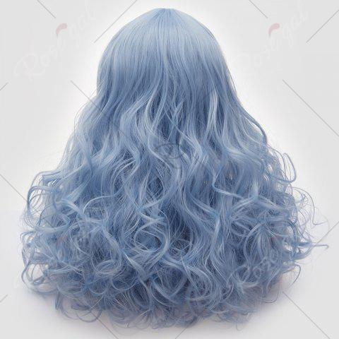 Fashion Long Middle Part Fluffy Layered Wavy Lolita Cosplay Wig - WINDSOR BLUE  Mobile