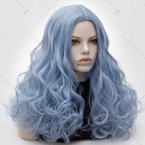 Shop Long Middle Part Fluffy Layered Wavy Lolita Cosplay Wig - WINDSOR BLUE  Mobile