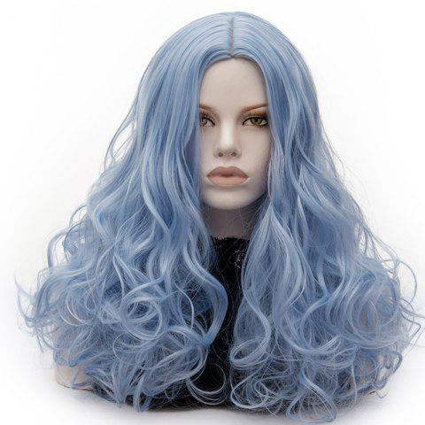 Trendy Long Middle Part Fluffy Layered Wavy Lolita Cosplay Wig - WINDSOR BLUE  Mobile