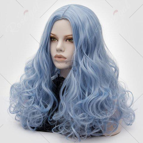 Hot Long Middle Part Fluffy Layered Wavy Lolita Cosplay Wig - WINDSOR BLUE  Mobile