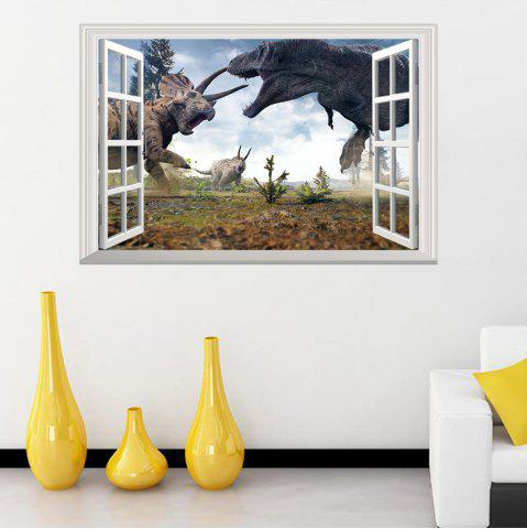 Fashion Window Dinosaurs 3D Wall Art Sticker For Kids Room COLORMIX 48.5*72CM