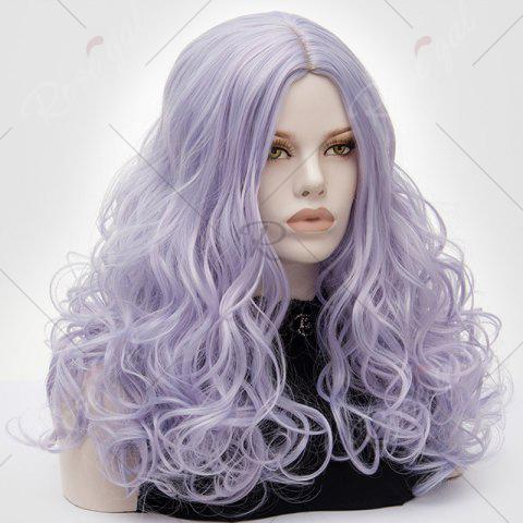 Affordable Long Middle Part Fluffy Layered Wavy Lolita Cosplay Wig - PINKISH BLUE  Mobile
