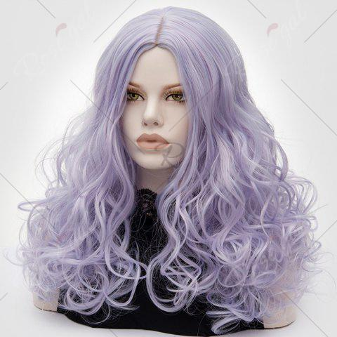 Fancy Long Middle Part Fluffy Layered Wavy Lolita Cosplay Wig - PINKISH BLUE  Mobile