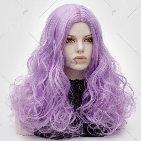 Unique Long Middle Part Fluffy Layered Wavy Lolita Cosplay Wig - LIGHT PURPLE  Mobile