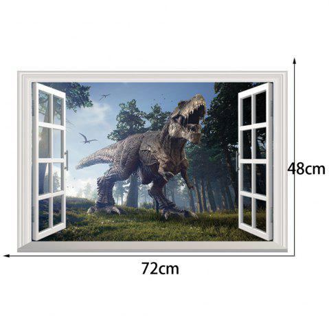 Store Window Forest Dinosaur Removable 3D Wall Art Sticker - 48.5*72CM COLORMIX Mobile