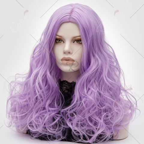 Chic Long Middle Part Fluffy Layered Wavy Lolita Cosplay Wig - LIGHT PURPLE  Mobile
