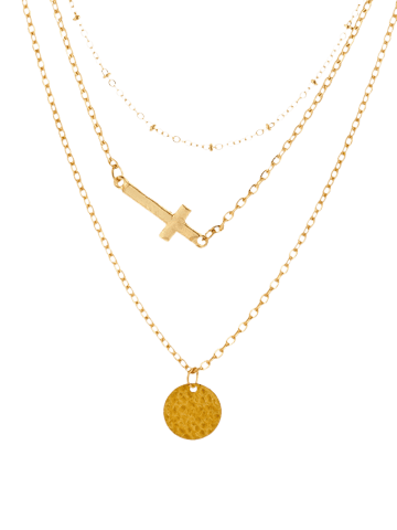 Store Crucifix Disc Circle Layered Pendant Necklace - GOLDEN  Mobile