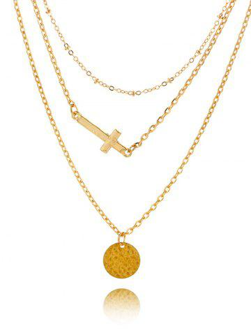 Outfits Crucifix Disc Circle Layered Pendant Necklace GOLDEN