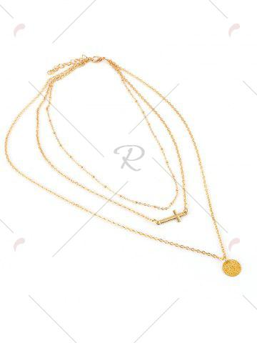 Buy Crucifix Disc Circle Layered Pendant Necklace - GOLDEN  Mobile