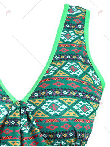 Discount Plus Size Cross Back Skirted One Piece Swimsuit - 2XL GREEN Mobile