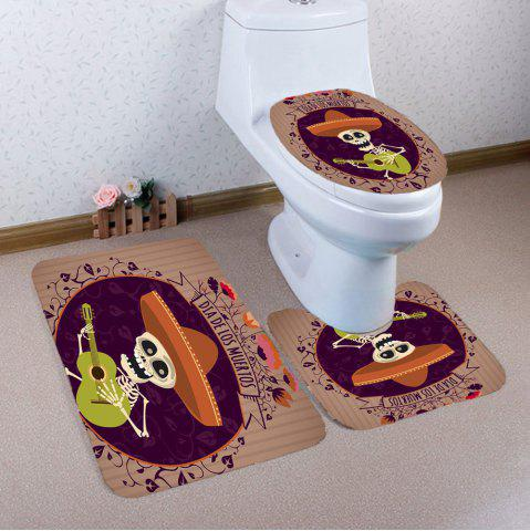 Shop Halloween Guitar Skeleton Printed 3Pcs Bathroom Mats Set COLORFUL