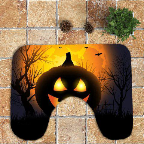 Online Halloween Pumpkin Withered Tree Printed 3Pcs Toilet Bathroom Mats - BLACK AND ORANGE  Mobile