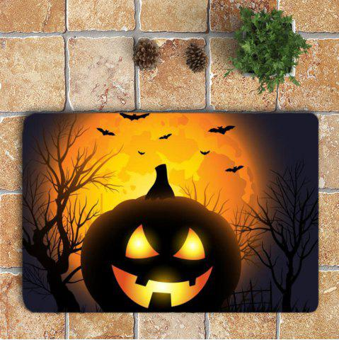 Outfit Halloween Pumpkin Withered Tree Printed 3Pcs Toilet Bathroom Mats - BLACK AND ORANGE  Mobile