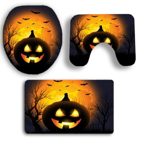 Shops Halloween Pumpkin Withered Tree Printed 3Pcs Toilet Bathroom Mats - BLACK AND ORANGE  Mobile