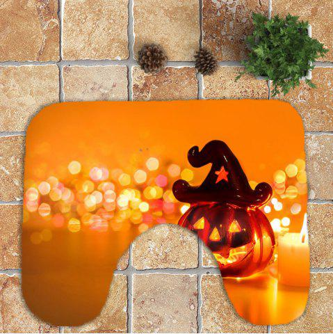 Store Halloween Pumpkin Candle Printed 3Pcs Bathroom Mats Set - ORANGE  Mobile