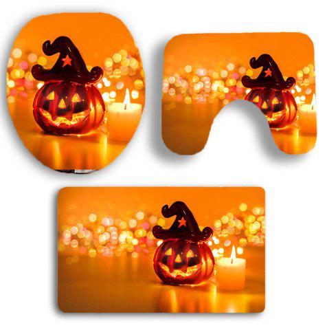Outfit Halloween Pumpkin Candle Printed 3Pcs Bathroom Mats Set - ORANGE  Mobile