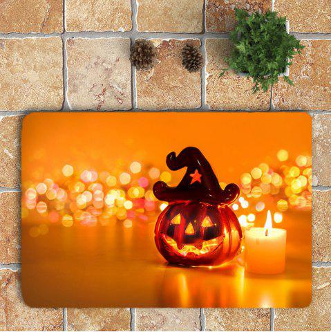 Online Halloween Pumpkin Candle Printed 3Pcs Bathroom Mats Set - ORANGE  Mobile