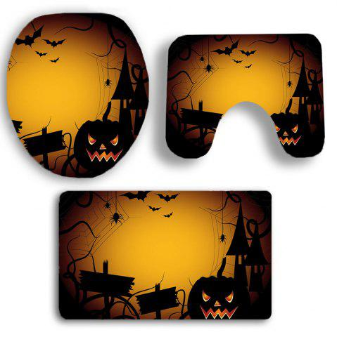 Online 3Pcs Halloween Spider Printed Bathroom Mats Set - YELLOW  Mobile