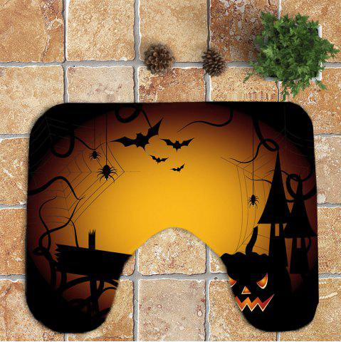 Buy 3Pcs Halloween Spider Printed Bathroom Mats Set - YELLOW  Mobile