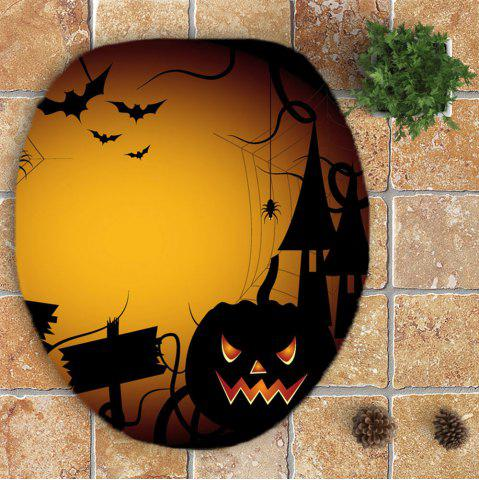 Hot 3Pcs Halloween Spider Printed Bathroom Mats Set - YELLOW  Mobile