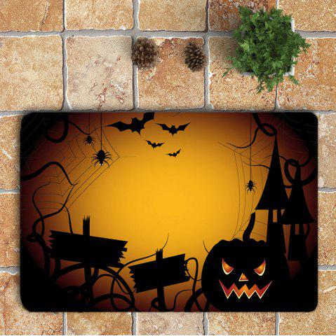 Store 3Pcs Halloween Spider Printed Bathroom Mats Set - YELLOW  Mobile