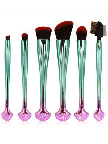 Fashion 7Pcs Plated Shell Design Ombre Makeup Brushes Set - RED WITH BLACK  Mobile