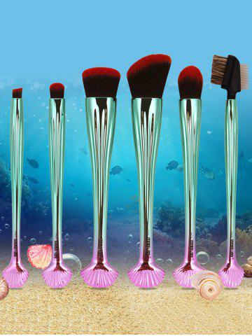 Cheap 7Pcs Plated Shell Design Ombre Makeup Brushes Set - RED WITH BLACK  Mobile