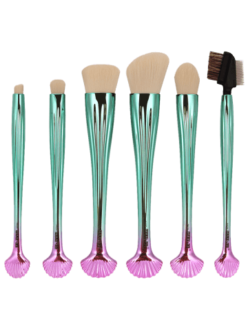 Affordable 7Pcs Plated Shell Design Ombre Makeup Brushes Set - WHITE  Mobile