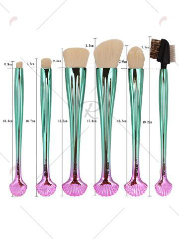 New 7Pcs Plated Shell Design Ombre Makeup Brushes Set - WHITE  Mobile