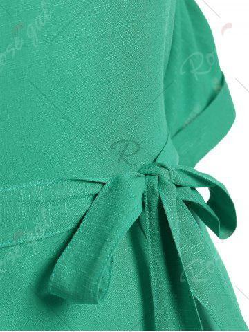 Best Belted V Neck Plus Size Top - XL GREEN Mobile
