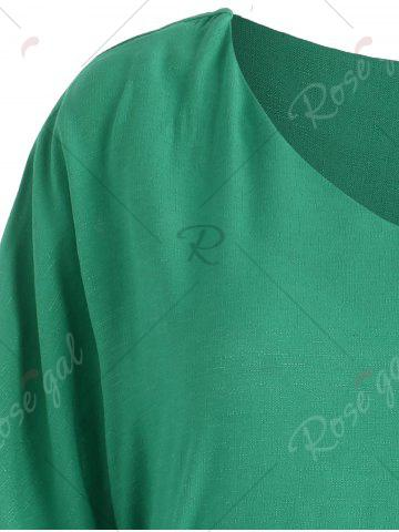 Hot Belted V Neck Plus Size Top - XL GREEN Mobile
