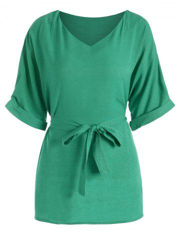 Latest Belted V Neck Plus Size Top - XL GREEN Mobile