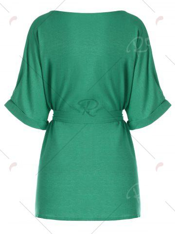 Shop Belted V Neck Plus Size Top - XL GREEN Mobile