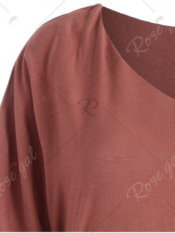 Outfit Belted V Neck Plus Size Top - 5XL BRICK-RED Mobile