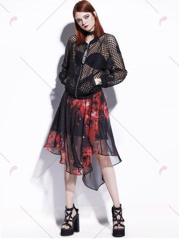 New Starry Sky Print Chiffon Handkerchief Skirt - 2XL RED Mobile