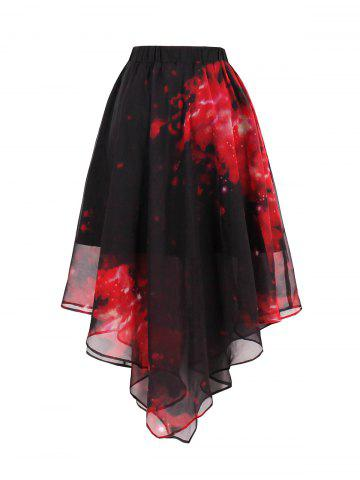 Hot Starry Sky Print Chiffon Handkerchief Skirt - 2XL RED Mobile