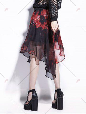 Outfits Starry Sky Print Chiffon Handkerchief Skirt - 2XL RED Mobile