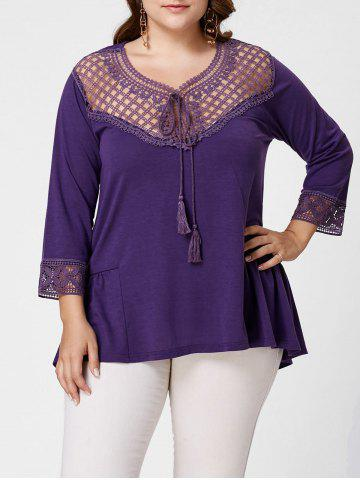 Panneau en crochet Plus Size High Low Blouse Pourpre XL