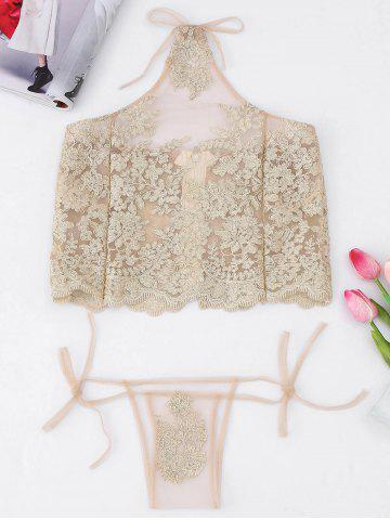 Halter See Through Applique Tank Top - Light Gold - One Size