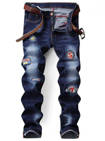 Straight Leg Zip Fly Patch Jeans Bleu Foncé 36