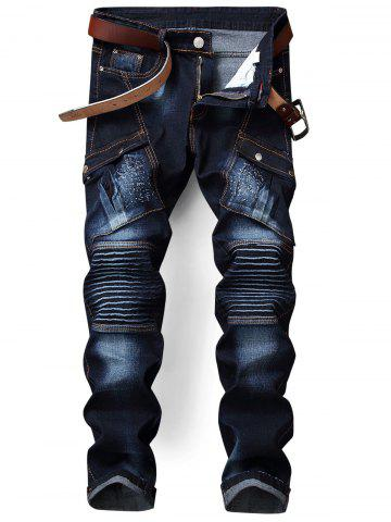 Fancy Flap Pocket Zip Fly Pleated Biker Jeans - 32 BLUE Mobile