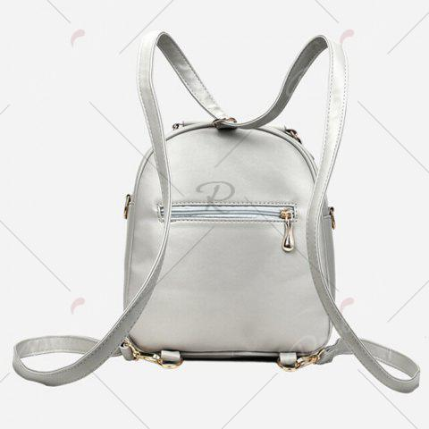 Latest Tassels 4 Pcs Faux Leather Backpack Set - SILVER GRAY  Mobile