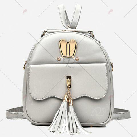 Buy Tassels 4 Pcs Faux Leather Backpack Set - SILVER GRAY  Mobile