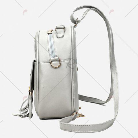 Chic Tassels 4 Pcs Faux Leather Backpack Set - SILVER GRAY  Mobile