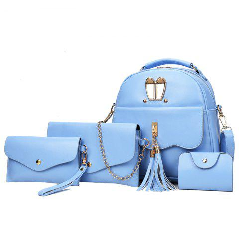 Chic Tassels 4 Pcs Faux Leather Backpack Set - BLUE  Mobile