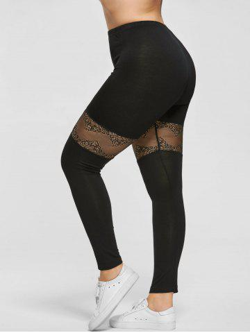 Cheap Plus Size Lace Trim Sport Leggings BLACK 2XL