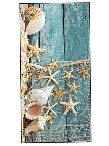 Starfish Wood Grain Print Soft Bath Towel - Turquoise - W15.5 Inch * L67 Inch