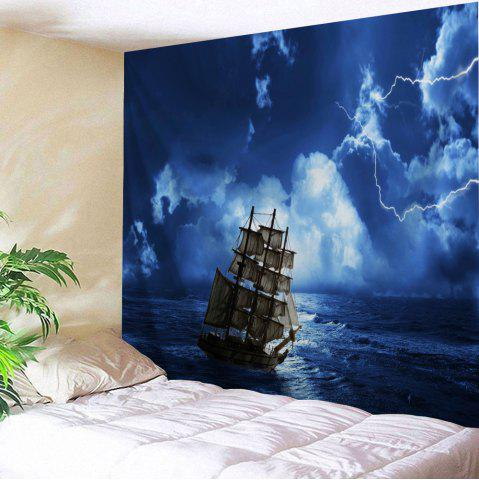Lightning Ocean Ship Print Tapestry Wall Hanging Art Decoration - Blue - W91 Inch * L71 Inch
