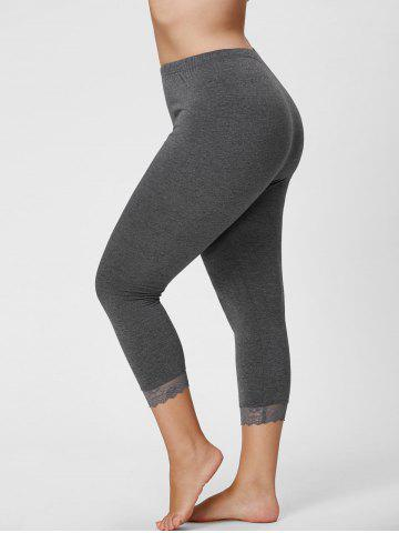 Plus Size Lace Hem Skinny Capri Leggings - Gray - 3xl
